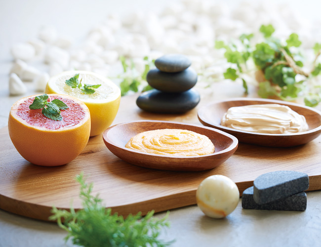 Massage stones and facial treatment items
